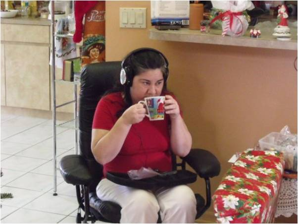 She enjoyed music on her noise-cancelling headphones, a gift from her brother.